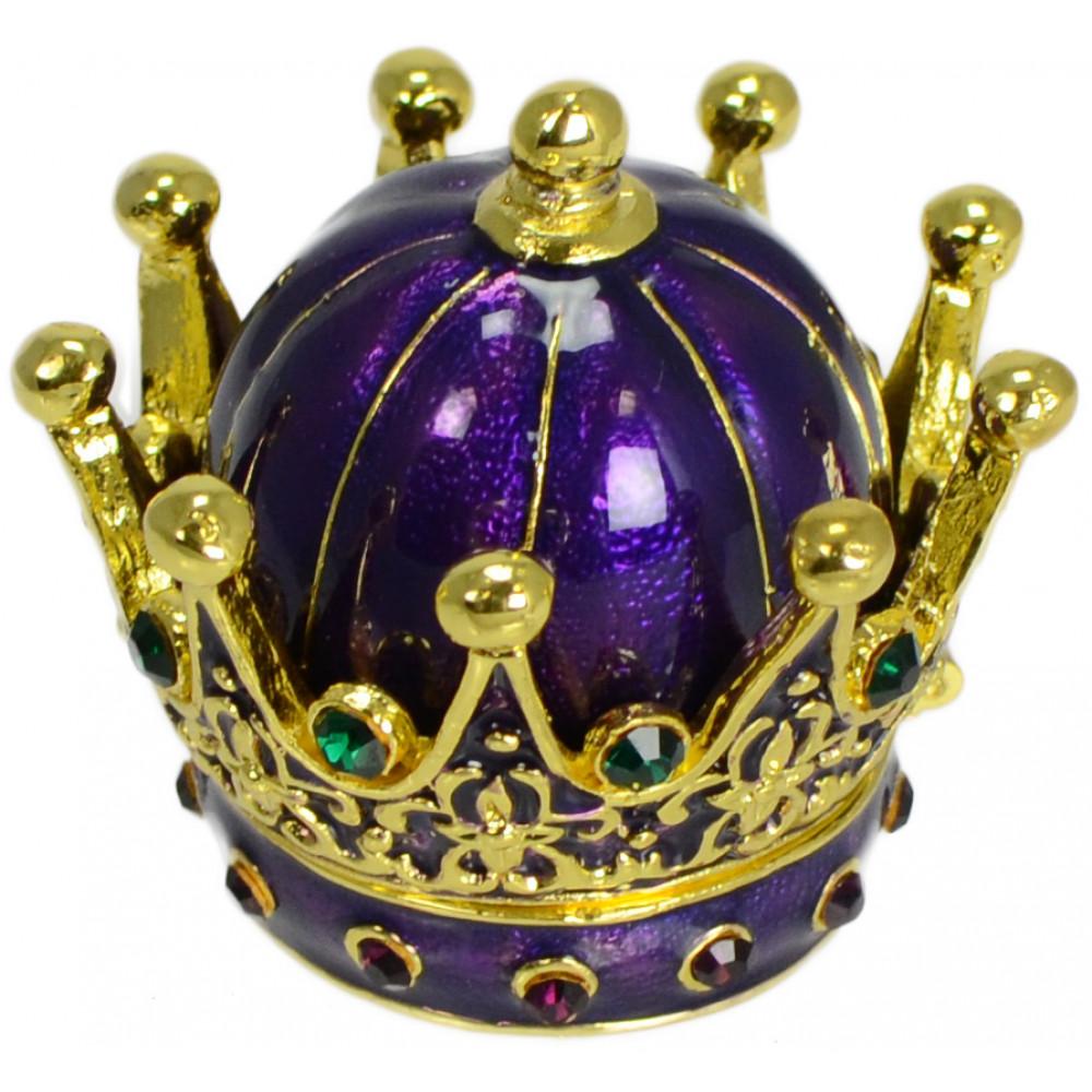 Purple Enameled Crown Pill Box Mardigrasoutlet Com