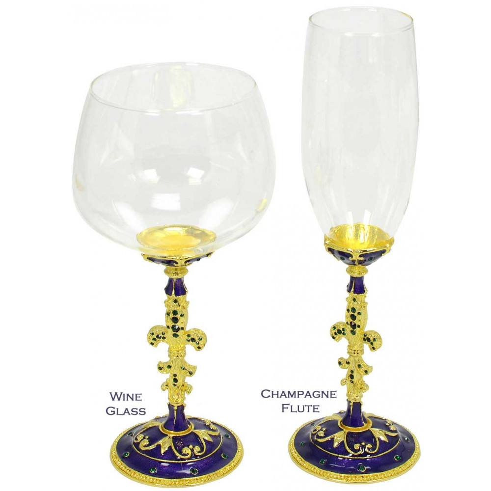 enameled mardi gras fleur de lis champagne flute. Black Bedroom Furniture Sets. Home Design Ideas