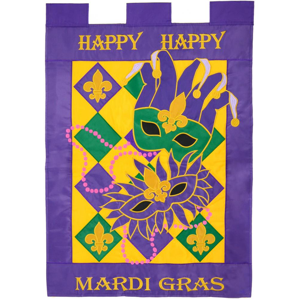 Happy Mardi Gras Large Flag [00179] - MardiGrasOutlet.com