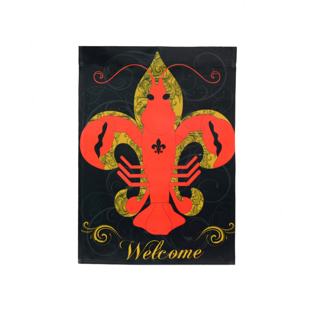 Perfect Crawfish Fleur De Lis Garden Flag: Black