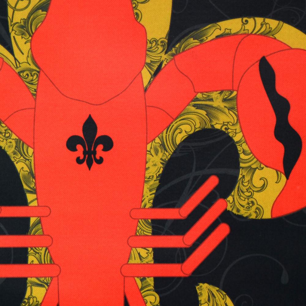 Crawfish Fleur De Lis Garden Flag: Black
