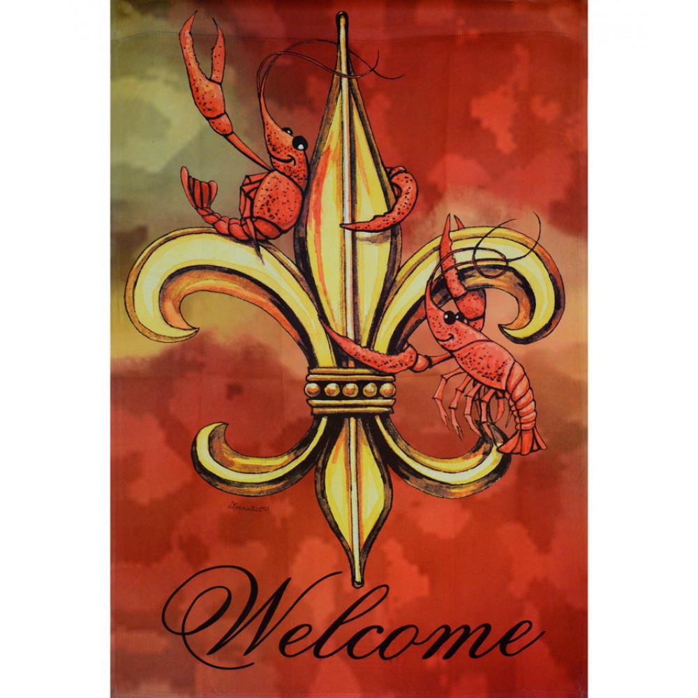 Routh Crawfish Fleur De Lis Garden Flag