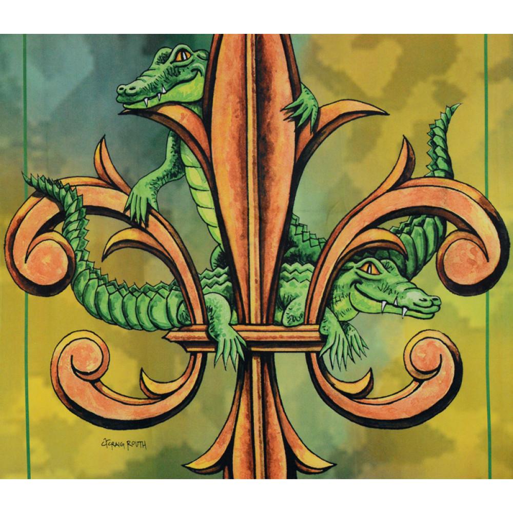 Alligator Fleur De Lis Garden Flag
