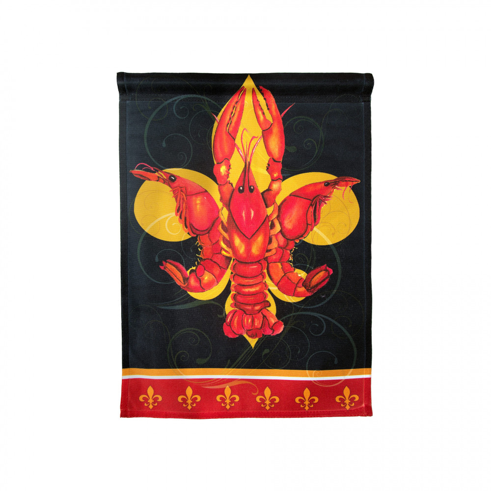 Red U0026 Black Crawfish Fleur De Lis Garden Flag
