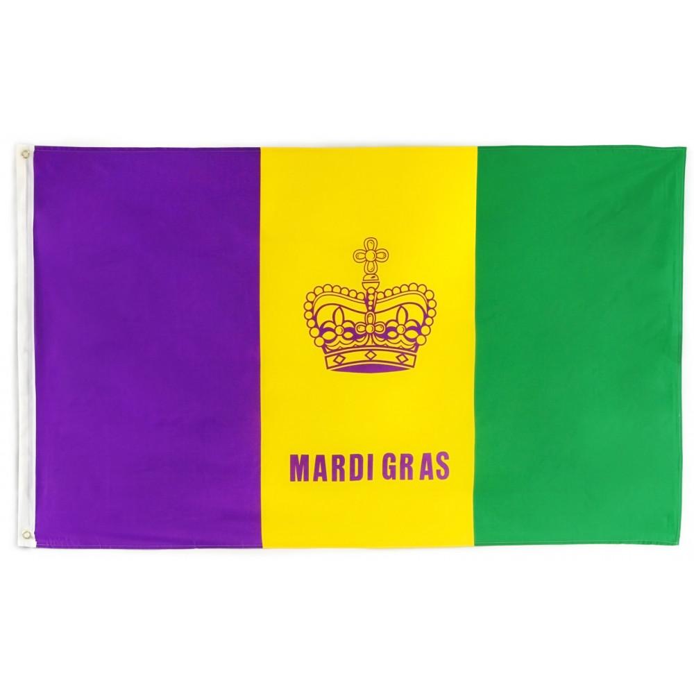 3' x 5' Mardi Gras Flag with Grommets [] - MardiGrasOutlet.com