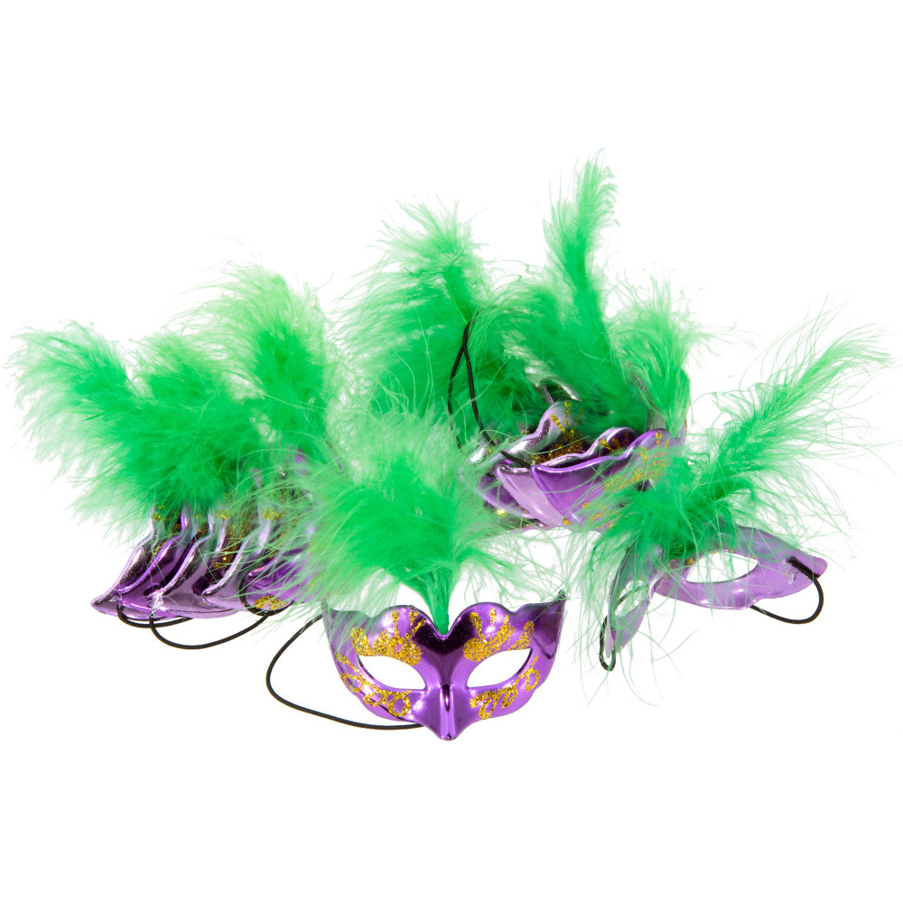 Mini Purple Half Face Mask With Green Feathers Set Of 12
