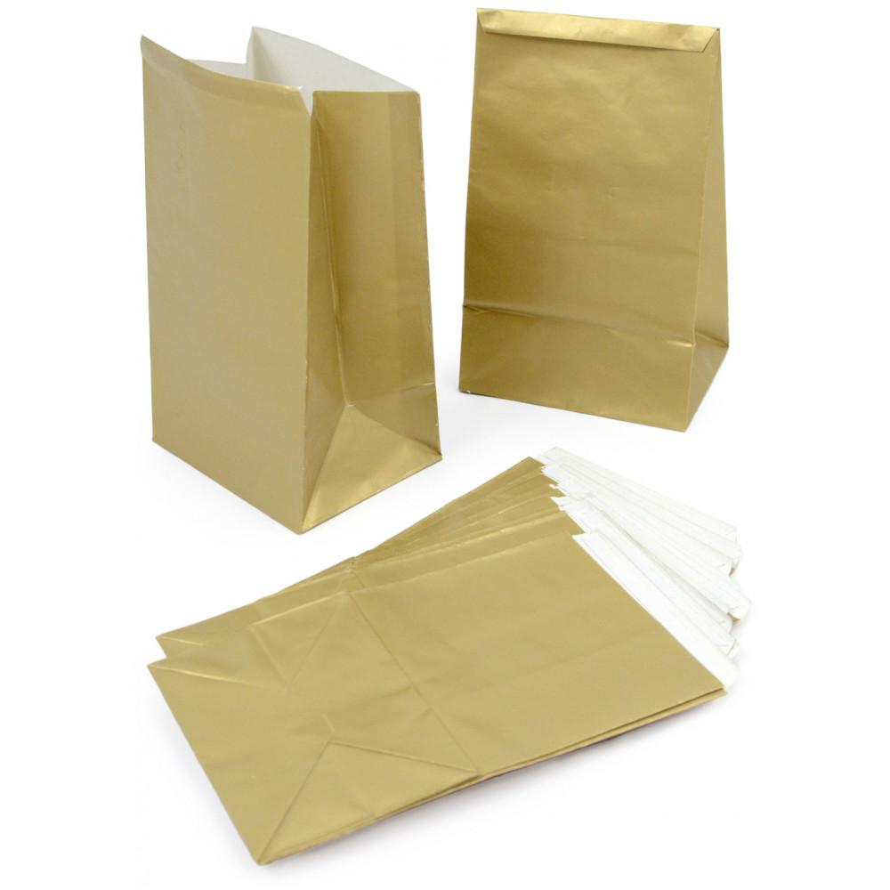 Gold Paper Mini Treat Bags 12