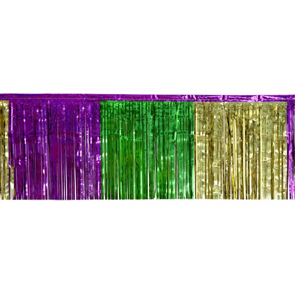 "1-Ply Fringe Drape: Metallic Mardi Gras (10' x 15"") [7132 ..."