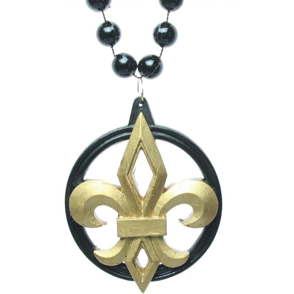 Black gold fleur de lis necklace mardigrasoutlet black gold fleur de lis necklace aloadofball Images