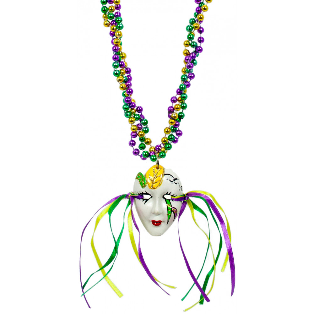 mardi gras mask on braided necklace mardigrasoutlet com