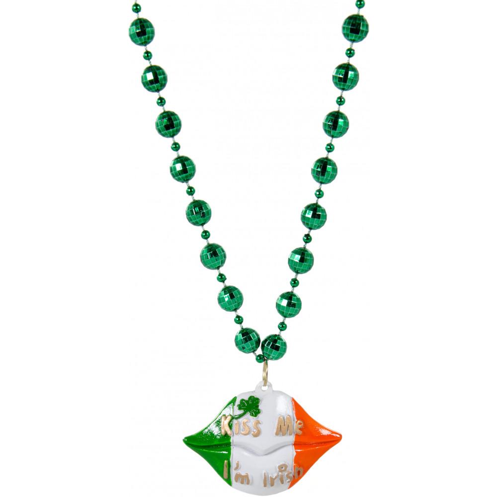 Kiss Me I\'m Irish Lips Bead Necklace [PST1863-G1233 ...
