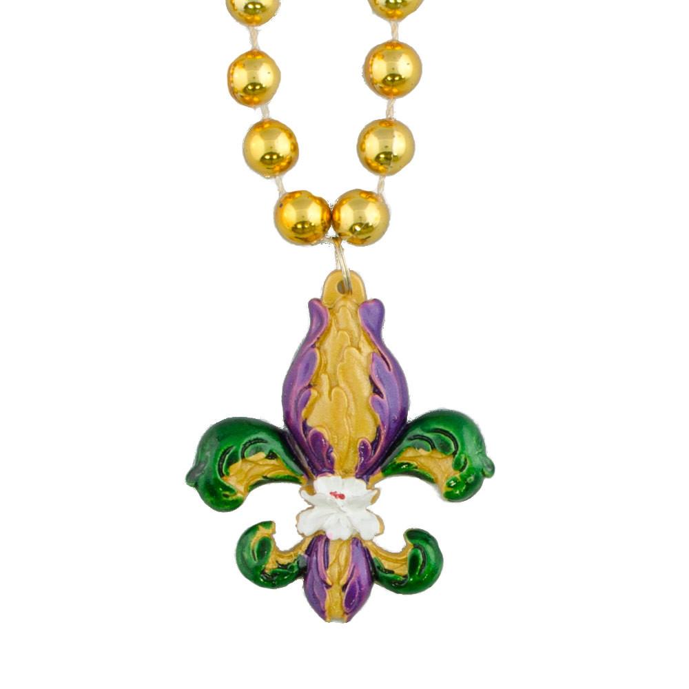 iris fleur de lis medallion bead necklace pst1951 1233. Black Bedroom Furniture Sets. Home Design Ideas