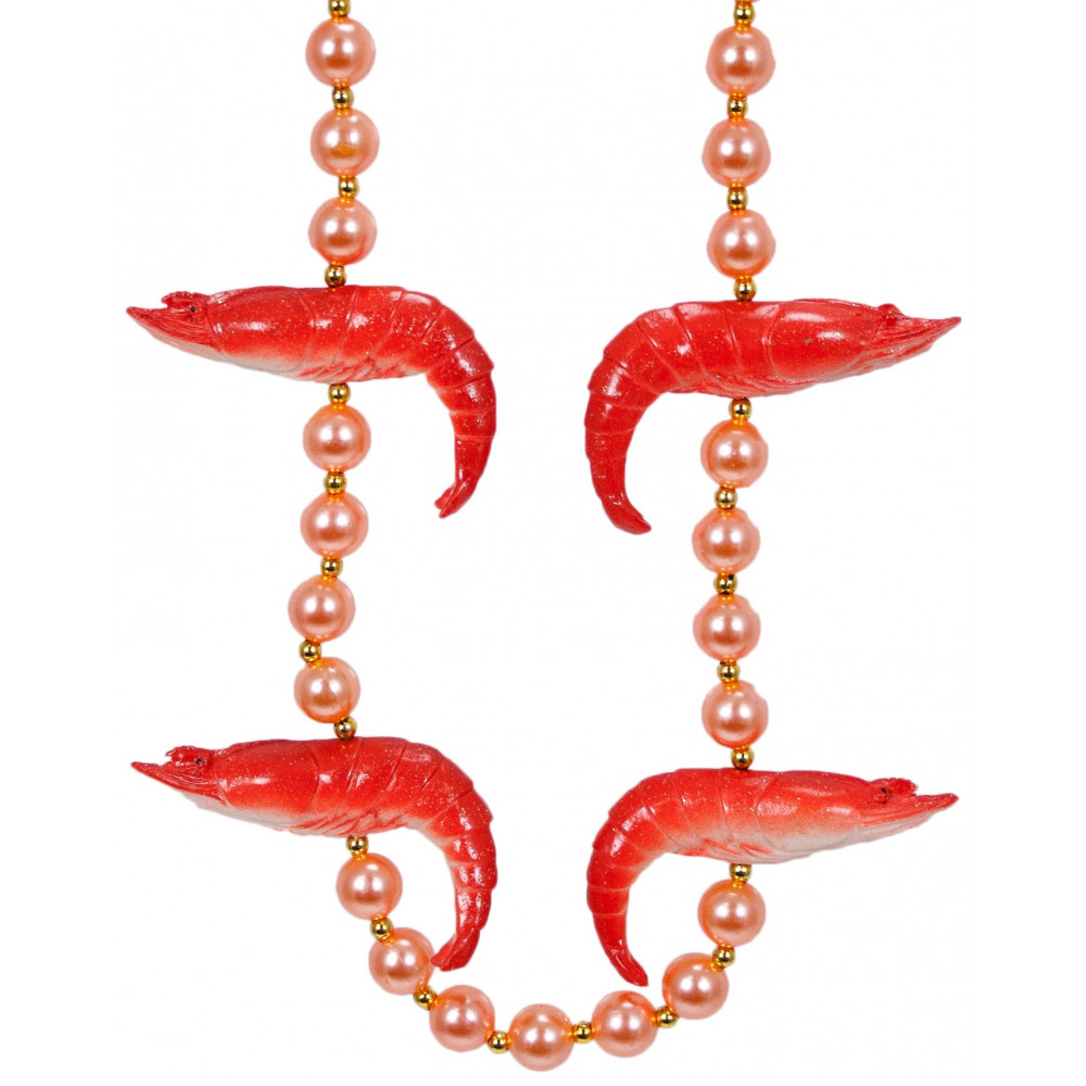 Shrimp On Pink Pearls Necklace