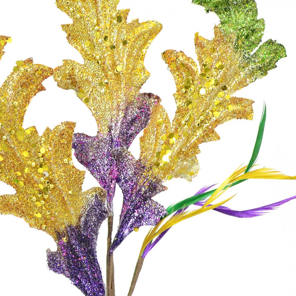 Metallic mardi gras acanthus leaf spray 41106 for Acanthus leaf decoration