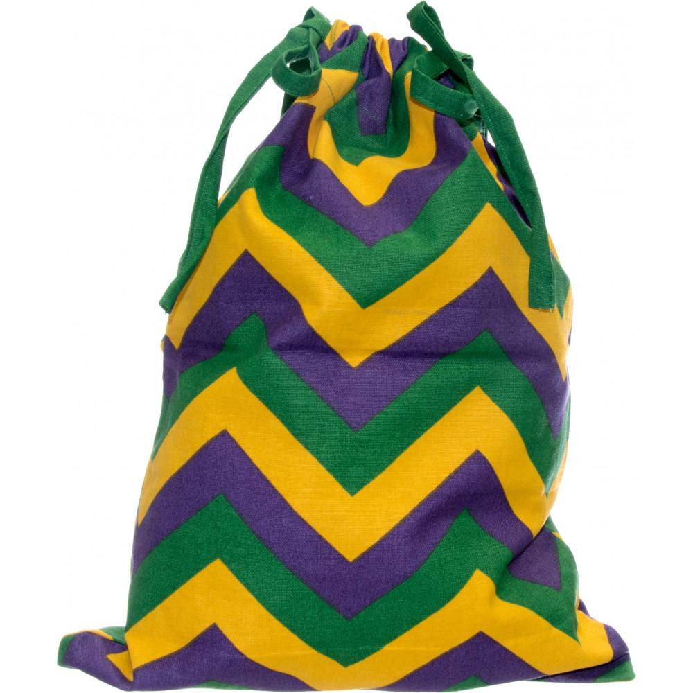 Mardi Gras Chevron Fabric Drawstring Gift Bag (12\