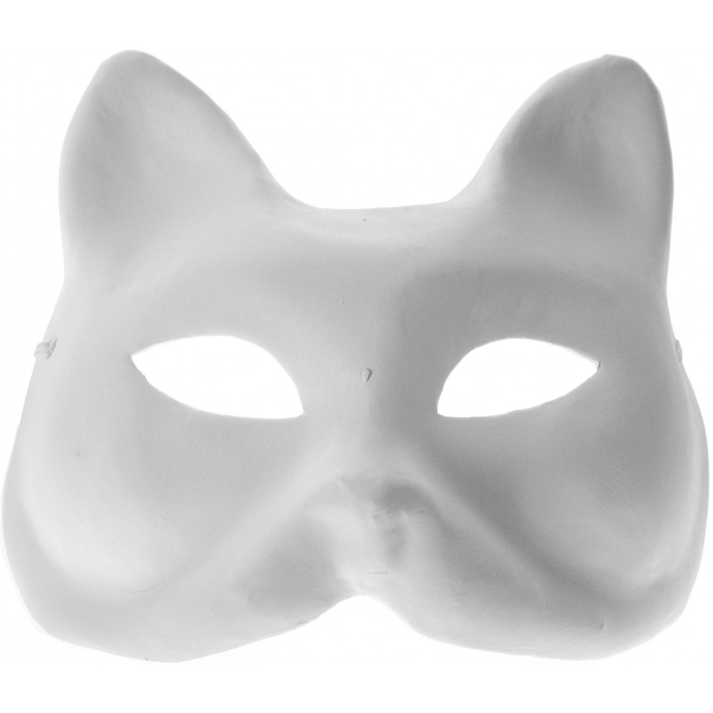 Unpainted Paper Mache Cat Mask [] - MardiGrasOutlet.com