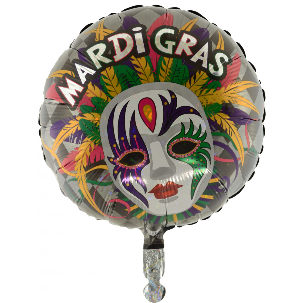 """Mardi Gras Feather Mask Party 34/"""" Holographic Shaped Foil Balloon Masquerade"""