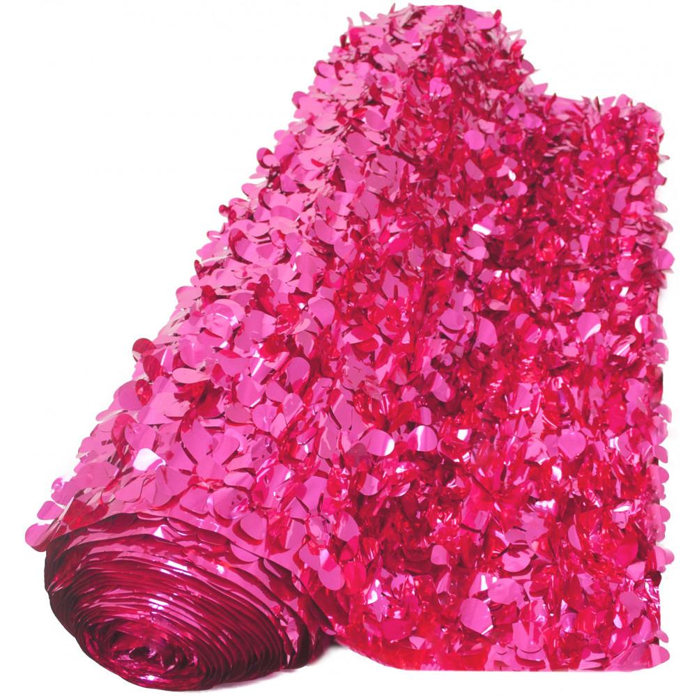 Floral Sheeting Petal Paper Metallic Cerise 10 Yards
