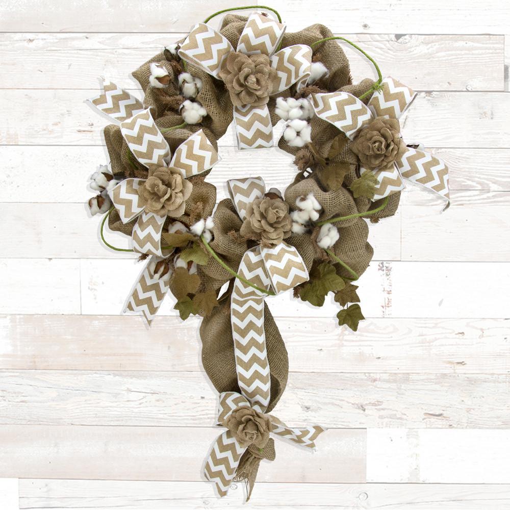 Cotton Boll Floral Spray 20 Quot Fh7539 Mardigrasoutlet Com