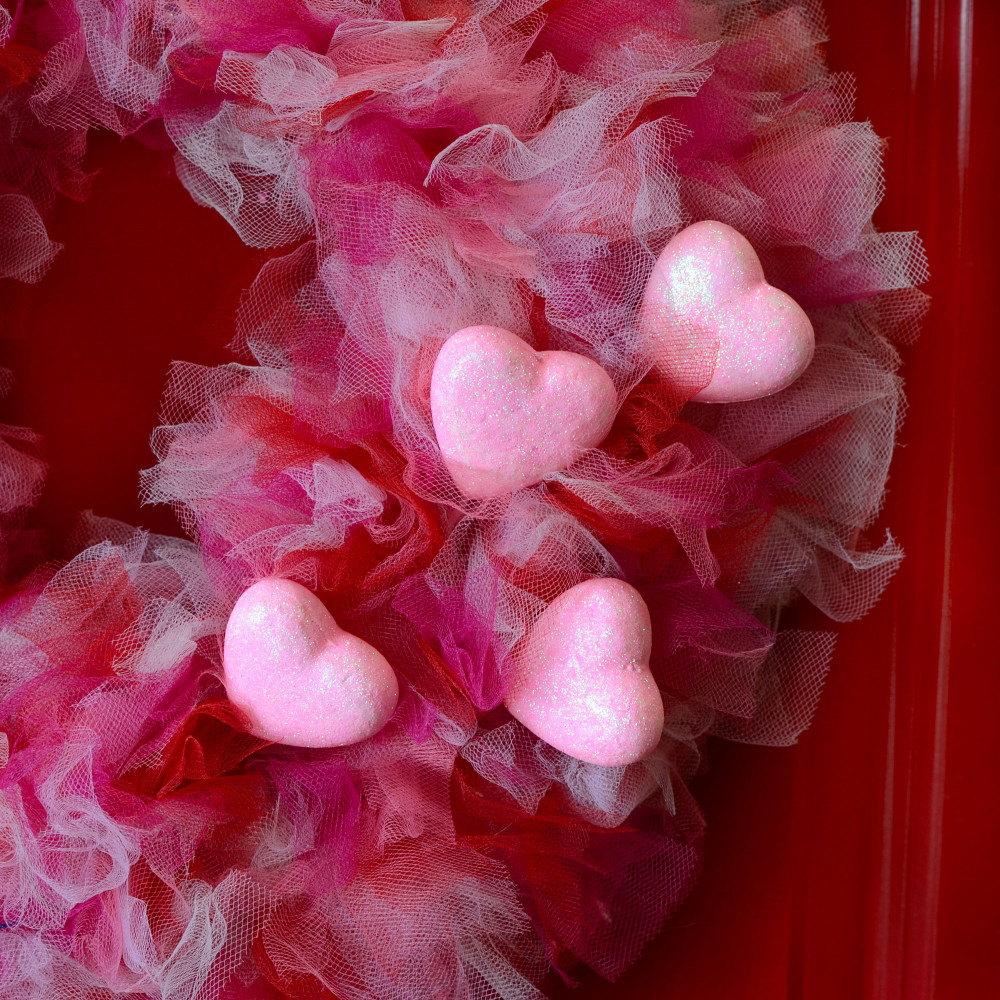 Set of 6 Foam Glitter Hearts Flower Picks