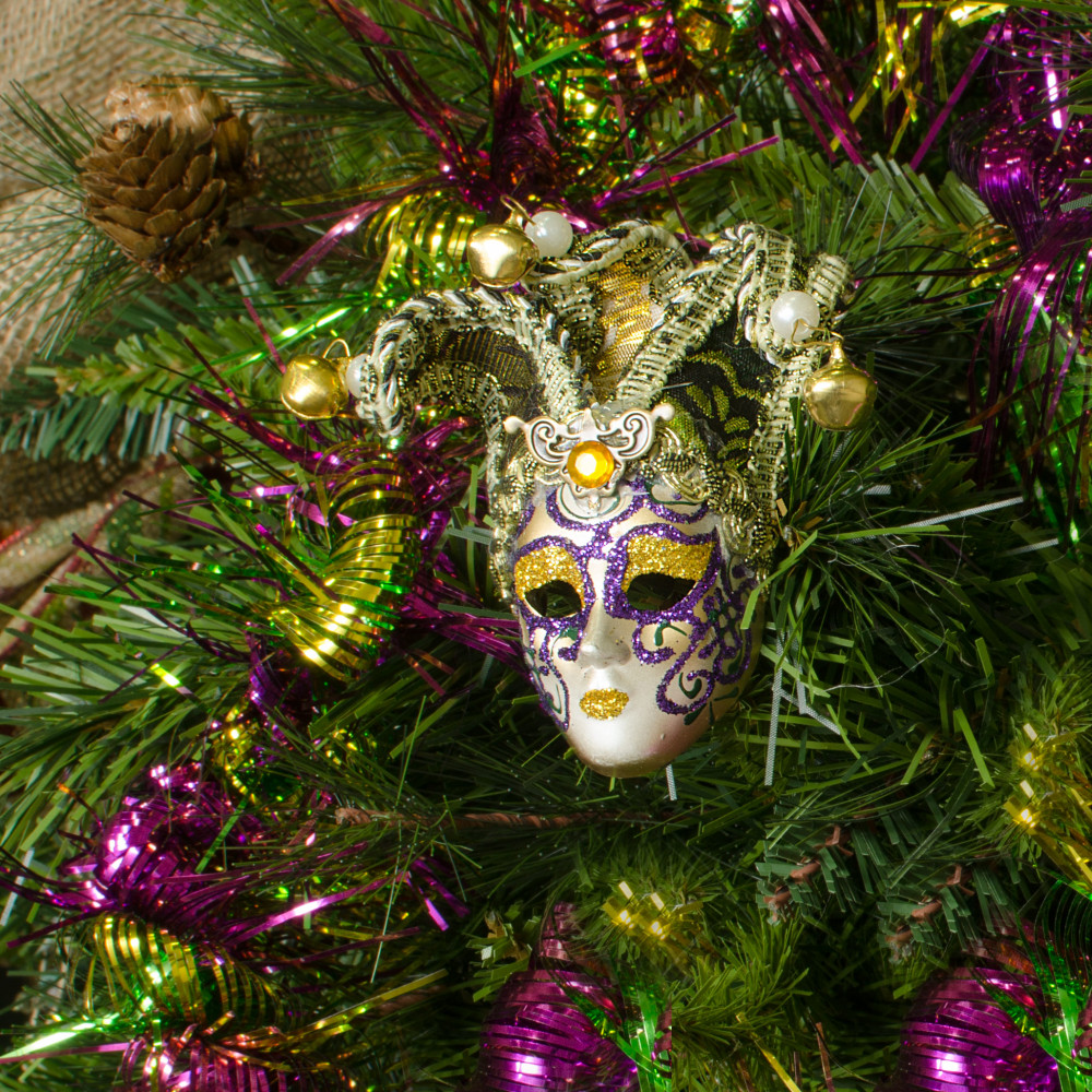 Crown Christmas Ornaments.4 Venetian Mask Ornament With Fabric Hat