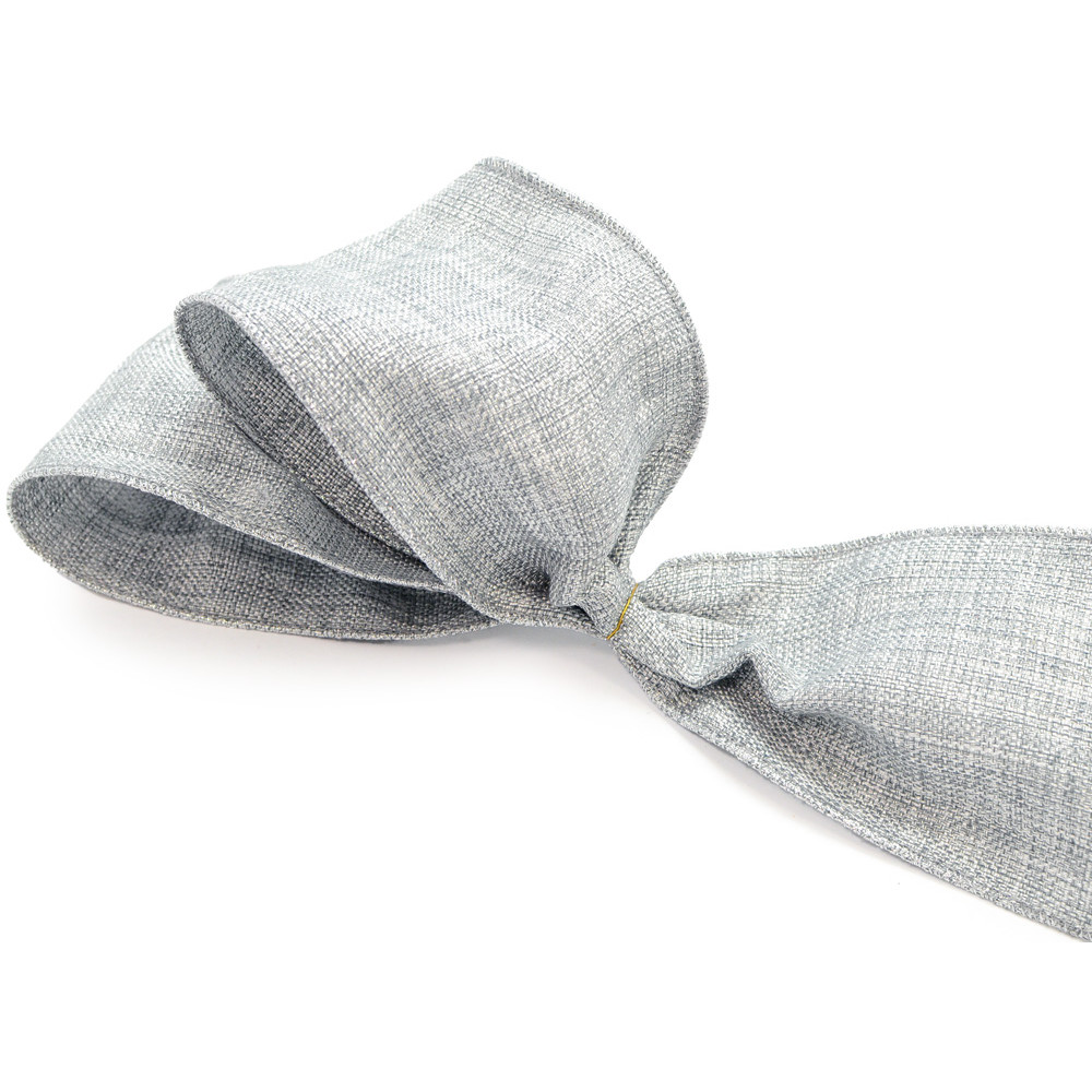 4 Quot Metallic Faux Linen Ribbon Grey Cream 10 Yards