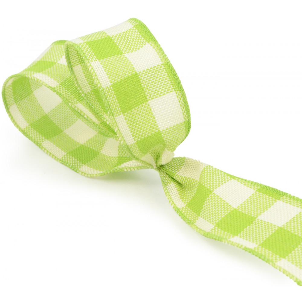 2 5 faux burlap lime green gingham check ribbon 25 for Green burlap ribbon