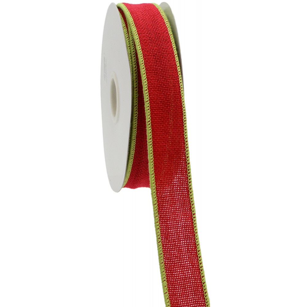 1 5 Quot Faux Burlap Ribbon Red With Lime Edge 25 Yards