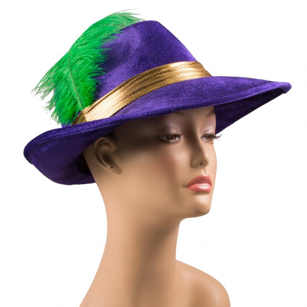 Purple Velvet Mardi Gras Pimp Hat  27114MGAO  - MardiGrasOutlet.com 9ff5587906aa