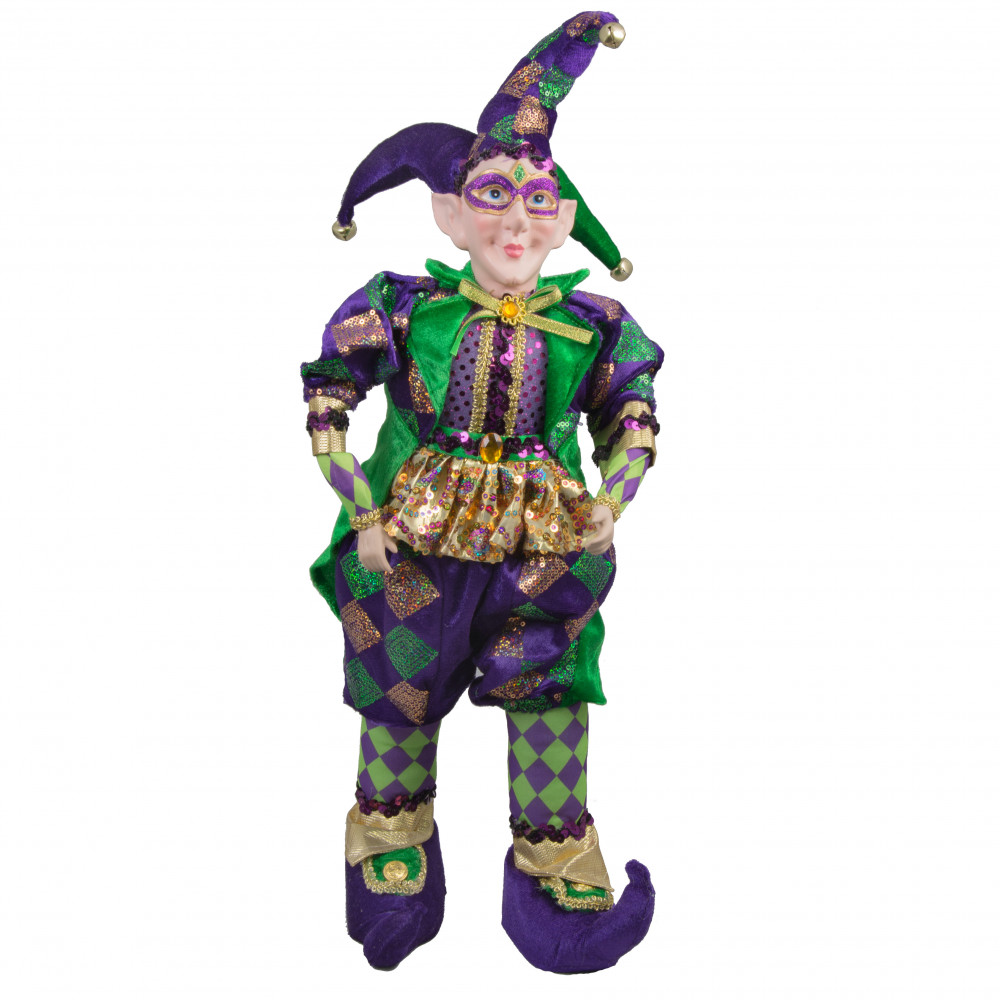 24 Quot Standing Jester Elf Mardi Gras Doll Mg15 110