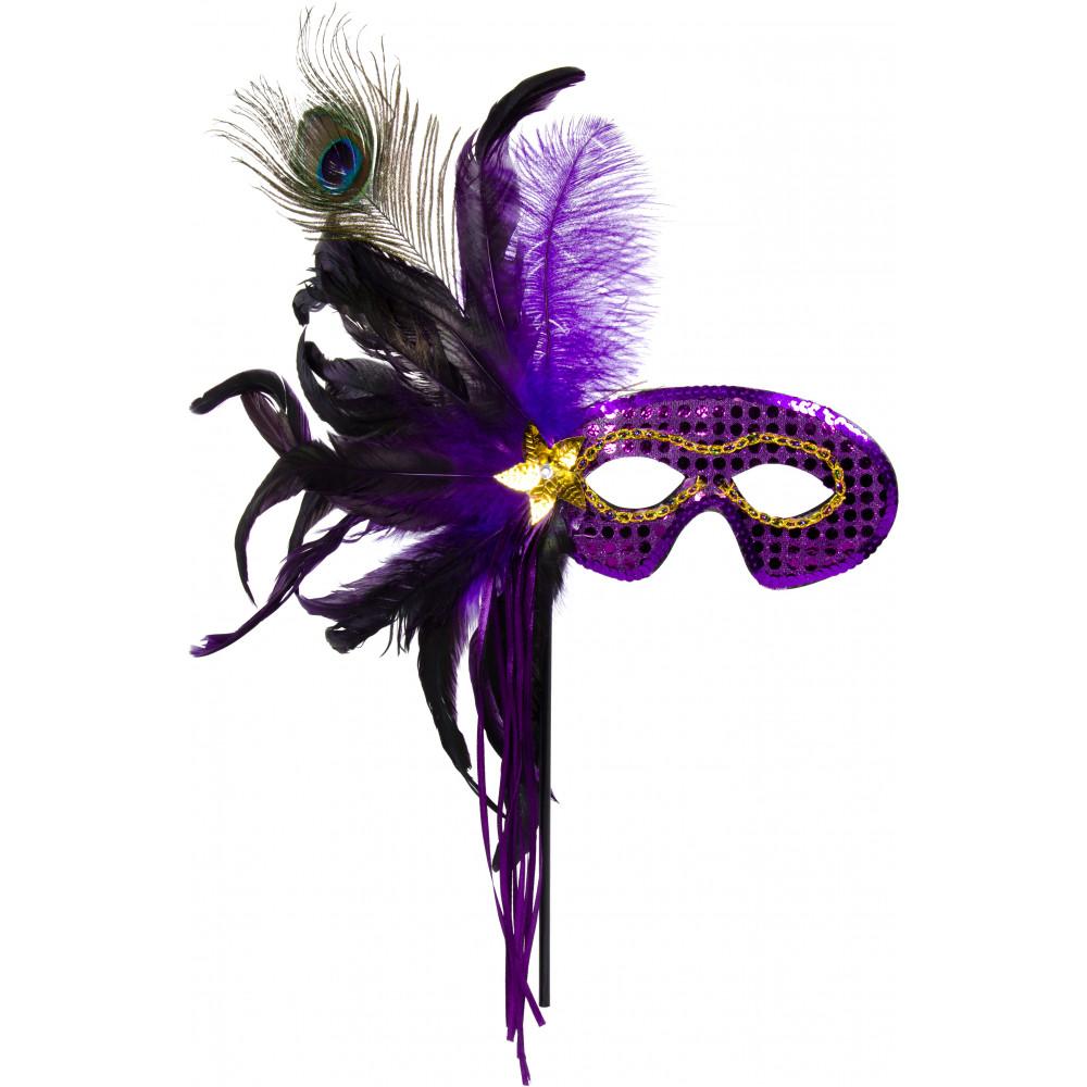 Feathers & Sequin Stick Mask: Purple [75-0516PU ...