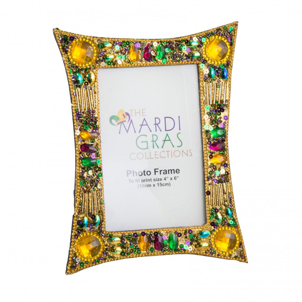 Photo frames mardigrasoutlet mardi gras gold jewel glitter frame 4 jeuxipadfo Images