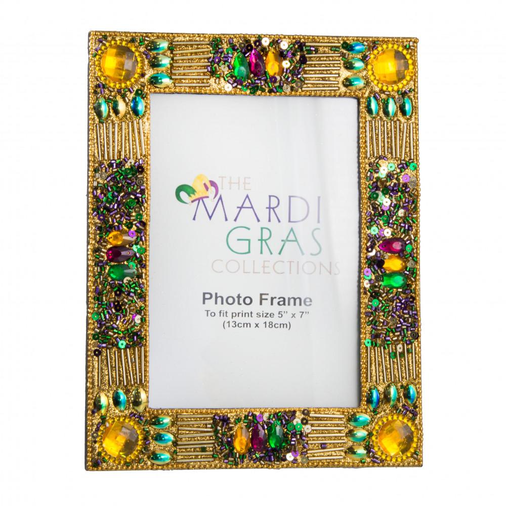 Mardi Gras Gold Jewel Glitter Frame (5\