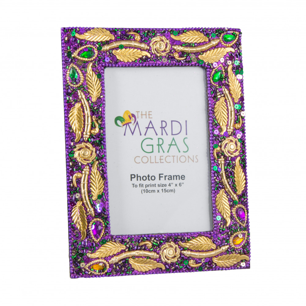 Mardi Gras Purple Jewel Leaf Frame (4\