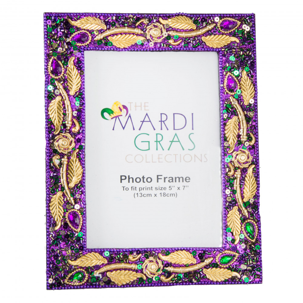 Mardi Gras Purple Jewel Leaf Frame (5\