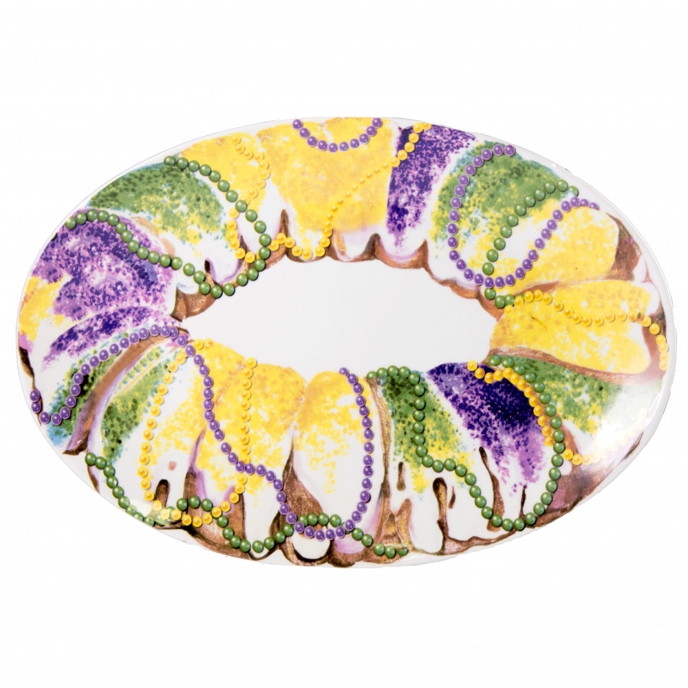 16\  Oval Ceramic King Cake Plate  sc 1 st  Mardi Gras Outlet & 16\