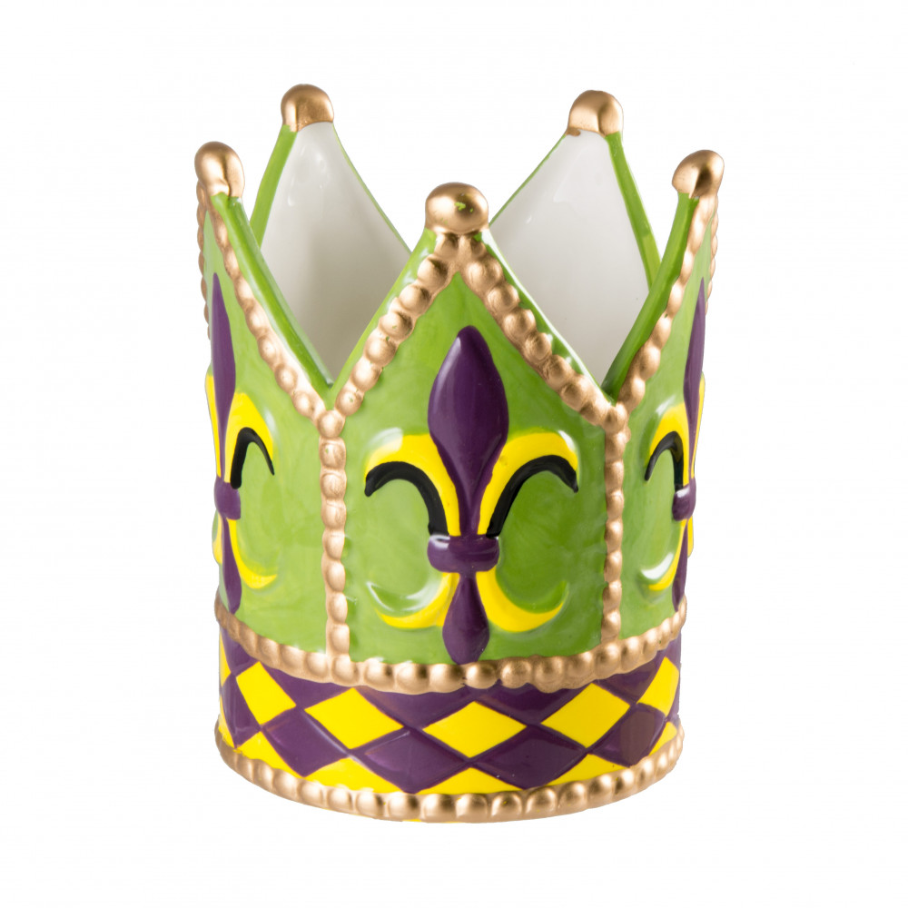 Ceramic Mardi Gras Fleur De Lis Crown Planter Mg9 010