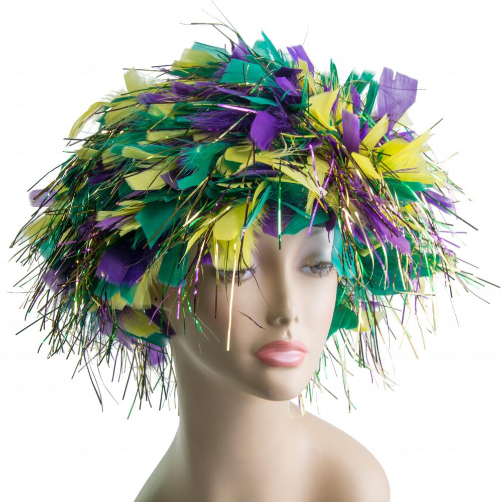 mardi gras feather wig  ys6001-054