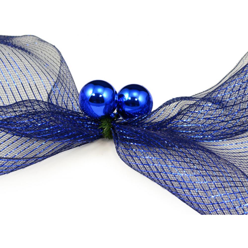 Quot green tinsel ties w mm balls blue set of