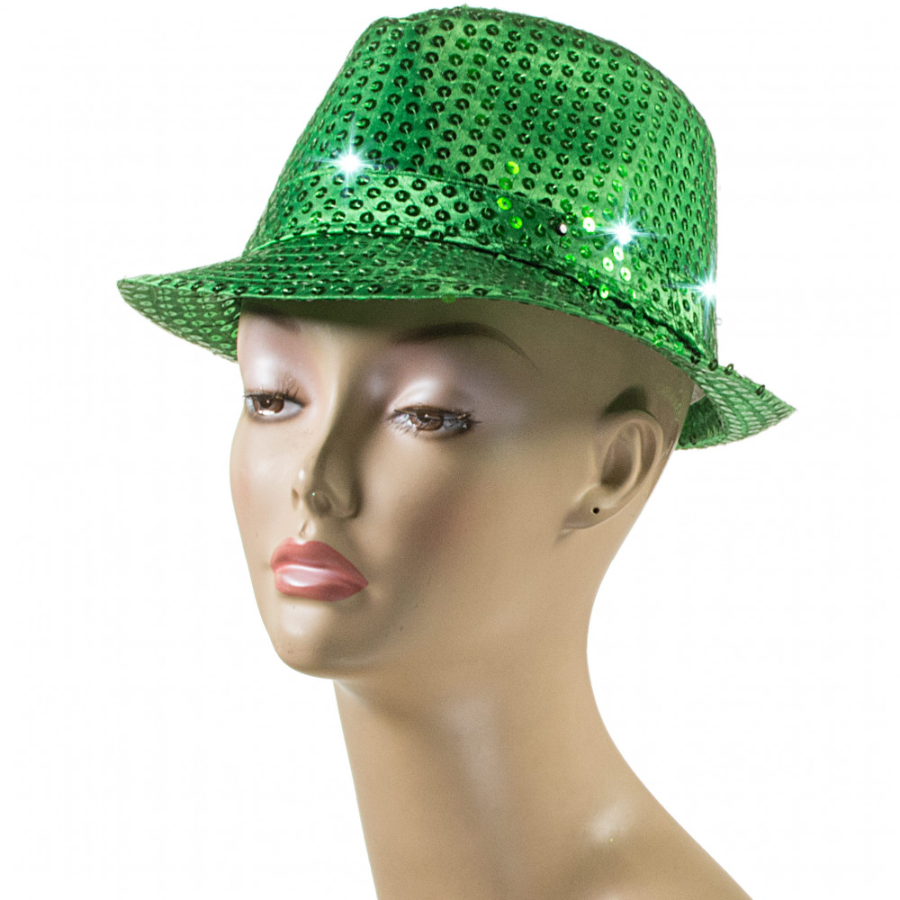 108d2e4d0432a Sequin Light Up Fedora  Green  25480GNAO  - MardiGrasOutlet.com