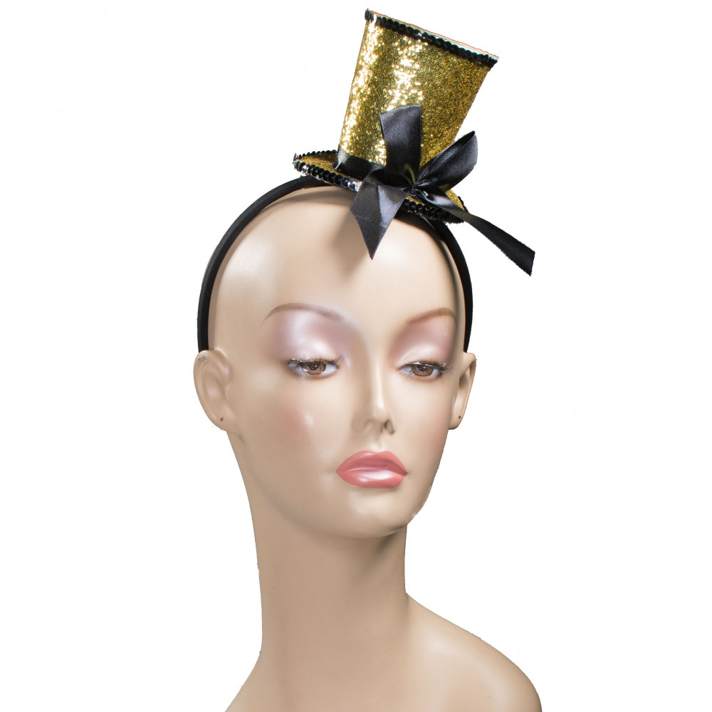 Glitter Top Hat Fascinator  Gold  27739GLAJ  - MardiGrasOutlet.com abbfced11e4