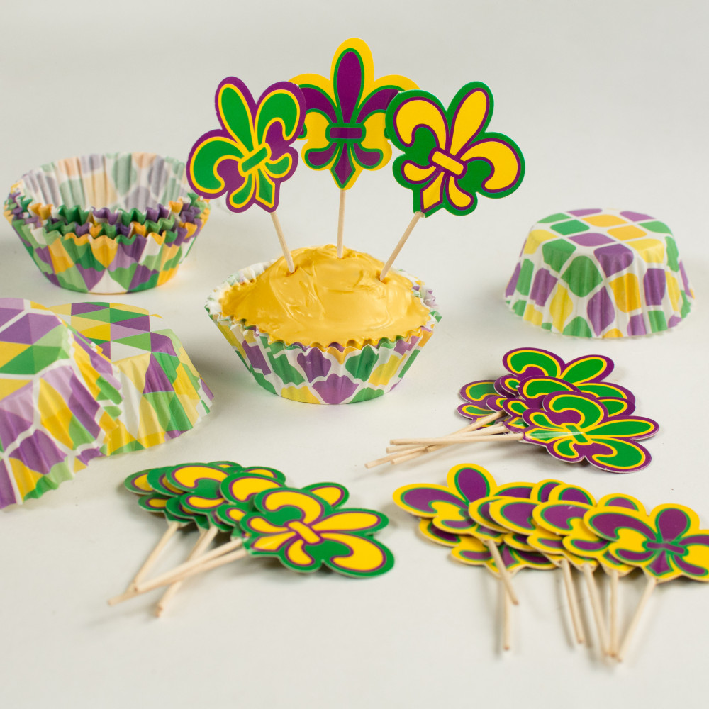 Mardi Gras Cupcake Liners & Picks (50) [OTC13758328 ...