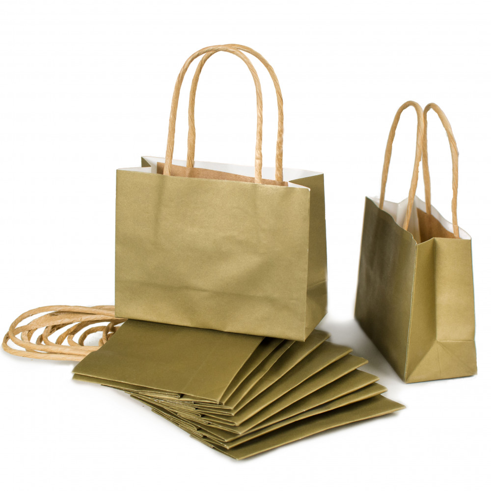 6 Small Gift Bags Gold 12