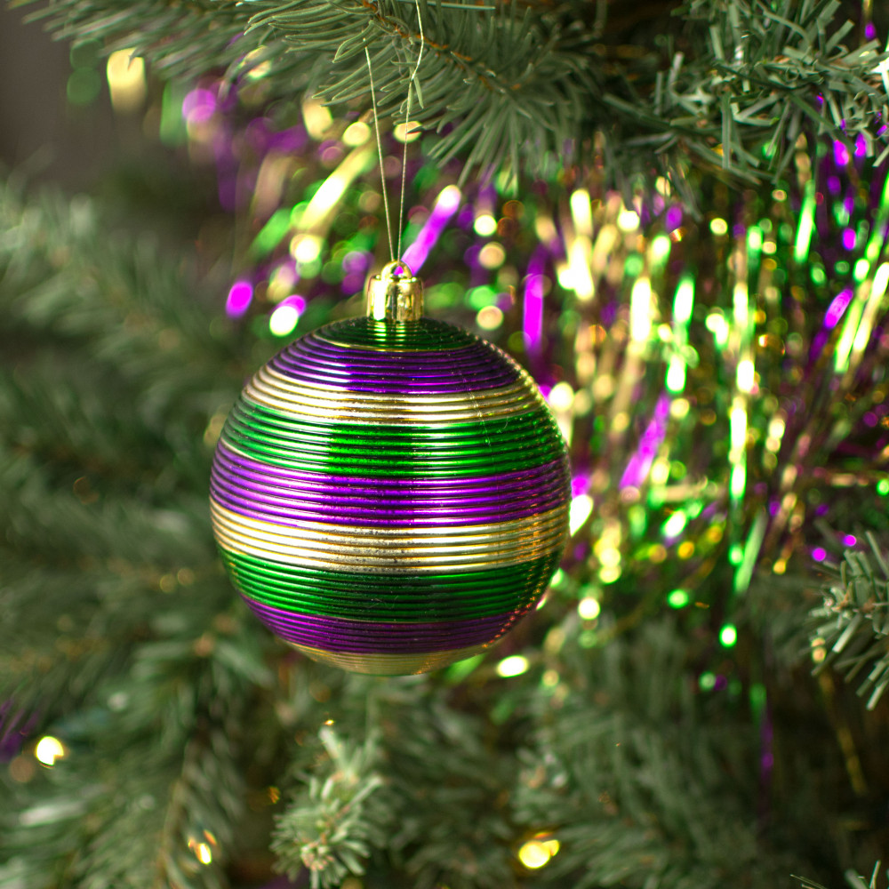 "3.25"" Striped Mardi Gras Ball Ornaments (4) [30-171 ..."