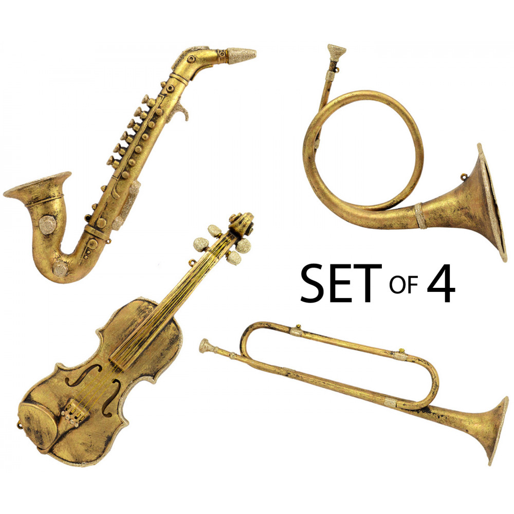 Musical instruments ornaments - 16 20 Assorted Gold Decorative Music Instruments