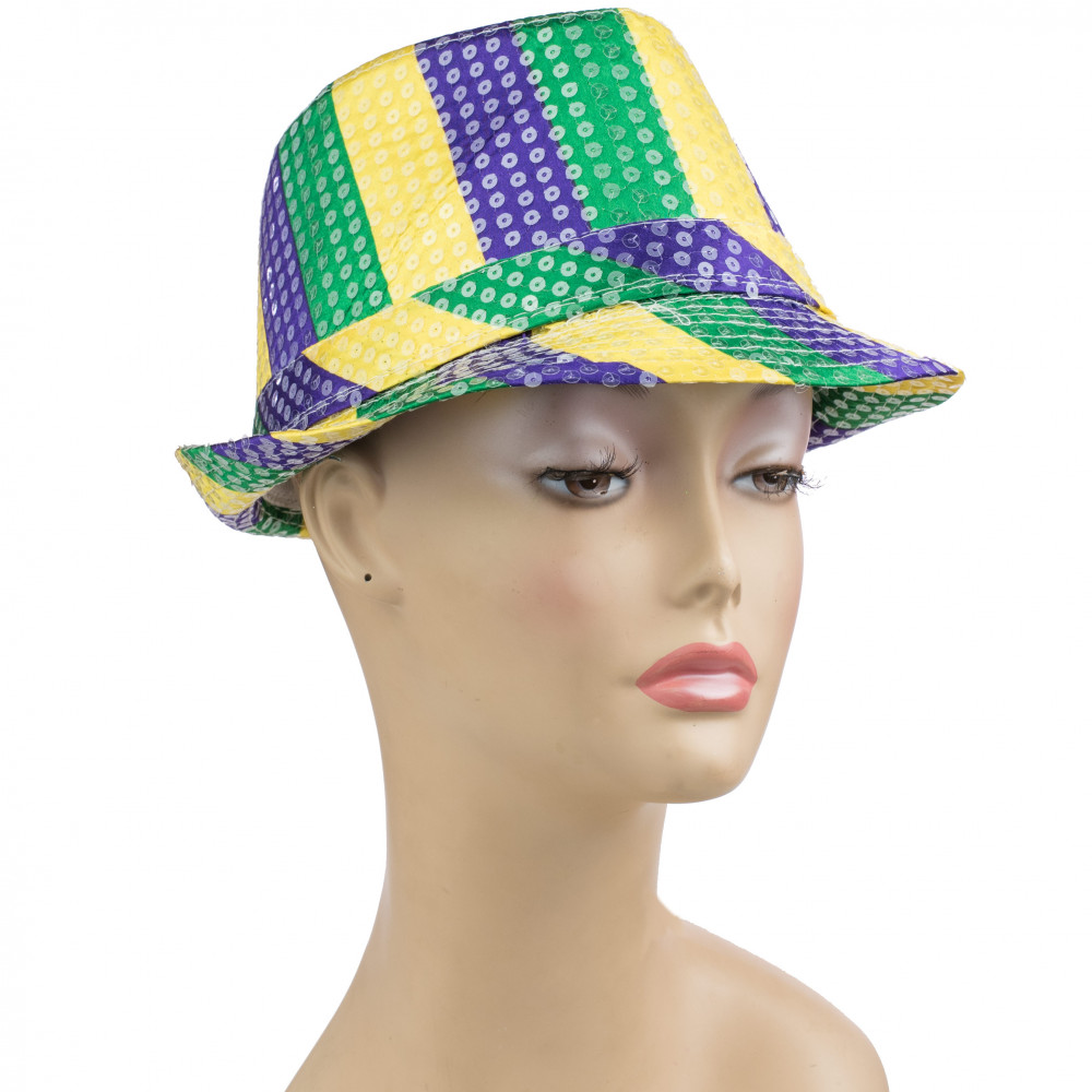 9a8ebeb5eb855 Clear Sequin Fedora  PGG Stripe  29-106  - MardiGrasOutlet.com