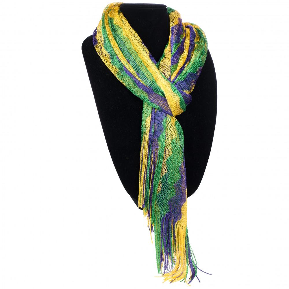 Mardi Gras Stripe Infinity Scarf Purple Green Yellow Knit Striped