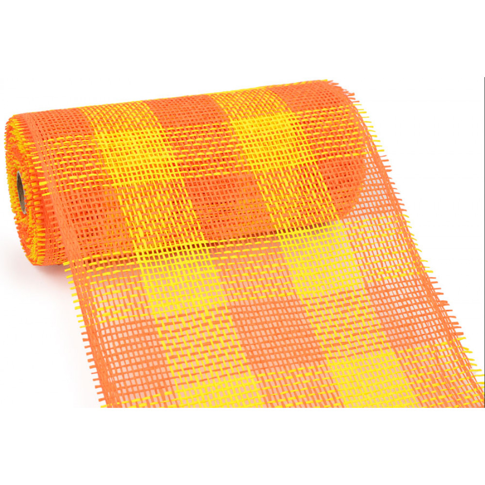 10 Quot Paper Mesh Roll Orange Yellow Plaid Rr800238