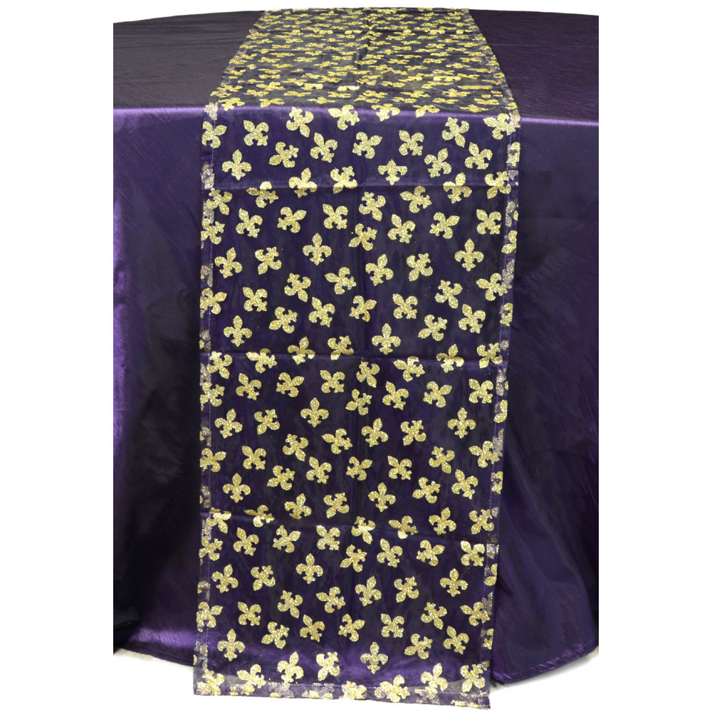 fleur de lis table runner purple gold pst15604. Black Bedroom Furniture Sets. Home Design Ideas