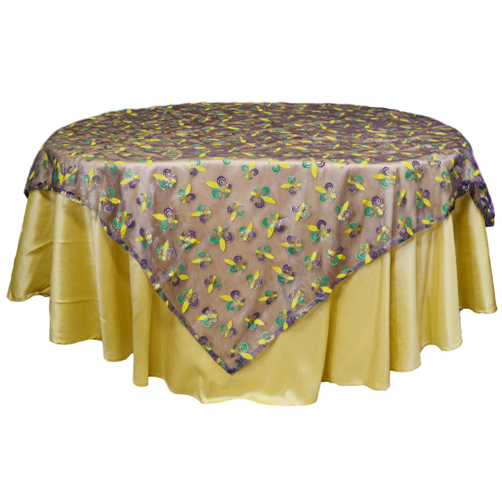 Mardi Gras Fleur De Lis Table Cover Purple Sheer